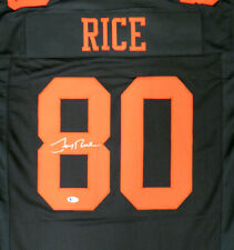 SAN FRANCISCO 49ERS JERRY RICE AUTOGRAPHED SIGNED BLACK JERSEY BECKETT 135389