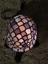 New listing Stained Glass Green Blue Turtle Accent Night Light Lamp Colorful Tiffany Style