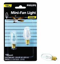 Philips 133876 Clear 15-Watt C7 1/2 Candle Base Ceiling Fan Bulb, 2-Bulb Pack