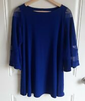 IC By Connie K Womens Blue Stretch Mesh Sleeve Swing Tunic Top Size Small READ