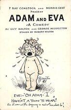 Rare Drayton Adam and Eva Movie Advertising Long Acre Theatre NYC Postcard