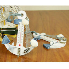 Cool Anchor Seashell Net Indoor Thermometer Wall Home Decor Wooden Hook Pendant