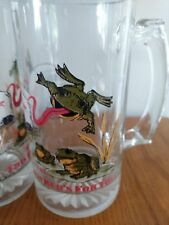 """New listing Set of 2 Budweiser Glass Beer Steins Mugs """"This Bud's For You"""" Bud Frogs 1996"""