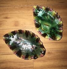 Pair of Antique Majolica Plate Bowl Leaf Dish Tidbit Nut Dish