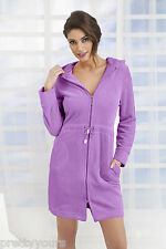Women's Cotton Dress Style Bath Robe Housecoat Dressing Gown Zip up With Hood Violet 10