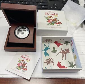 2017 Niue Disney $2 Silver BAMBI 75th Anniversary Box And COA