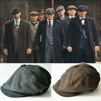 Mens Newsboy Hat Peaky Blinders Style Grey Herringbone Tweed Wool Cap Gatsby UK