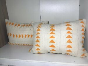 Two African Decorative Pillows, Cream and Orange Covers, African Mud Cloth