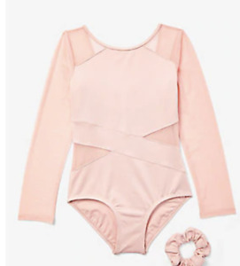 NWT Collection X By Justice Girls Cutout Mesh Long Sleeve Leotard Carmel Size 14