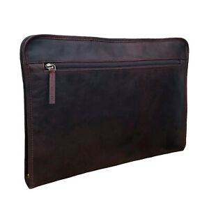 Professional Brown Buffalo Leather Portfolio, A4 Document Holder, Business Case