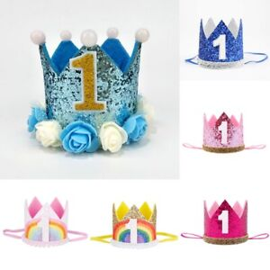 Kids 1st Birthday Crown Glitter Hair Decor Children Birthday Party Crown Hat New