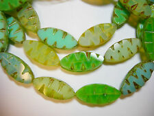 10 17x8mm Czech Glass Green Opal Picasso Mix Spindle Marquise Window Beads