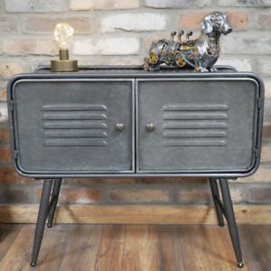 Industrial Metal Cabinet Storage Grey Sideboard 2 Doors Rustic Cupboard Unit New