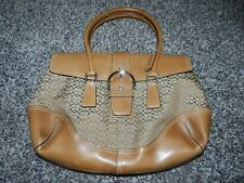 Coach Brown jacquard leather handbag shoulder bag purse Signature Satchel 6388