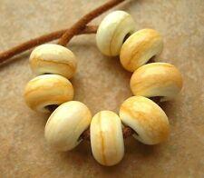 5FISH ~ Handmade Lampwork Murano Italian Glass Set Spacer Beads ~ Sweet Almond