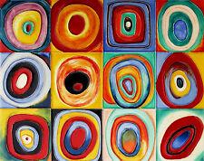 "Wassily Kandinsky.FARBSTUDIE QUADRATE. Art Reproduction 24""x 29"" PRINT-CANVAS"