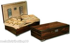 250 Count Lacquer Humidor Dual Trays wood Lock & Key Set