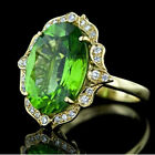 Elegant 18k Yellow Gold Plated Rings Women Peridot Rings Jewelry Gift Size 6-10