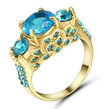 1.0/ct Aquamarine CZ Wedding Ring Size 7 10kt Yellow Gold Filled Jewelry Gift