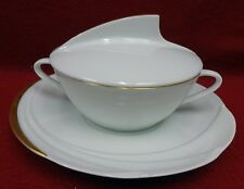 HUTSCHENREUTHER china MONDIAL pattern Cream Soup & Saucer Set with LID
