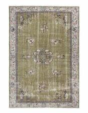 6x9 rug Vintage Turkish area carpet unique green beige low pile wool floral