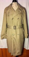 WHALING MANUFACTURING CO KHAKI TAN TRENCH COAT MENS SIZE 38 REGULAR MADE IN USA