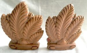 Pair Vintage Art Deco Composite Wood/Syroco Acanthus Leaf Bookends