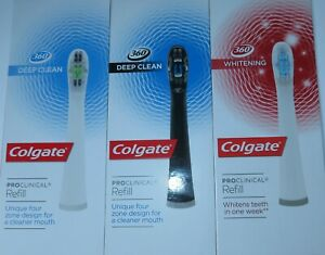 Colgate Proclinical Omron Toothbrush Heads Whitening/ Deep Clean White and Black