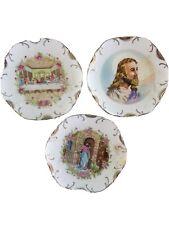 Set of 3 Decorative ,18 Karat Gold Trim Hand Painted plates
