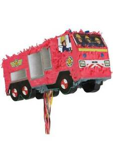 Childs Party Game Fireman Sam Fire Engine Pinata Mexican Birthday Bash Boys Kids
