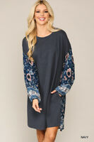 GIGIO BY UMGEE Size S Navy Mixed Print Drop Shoulder Long Sleeve Dress Pockets