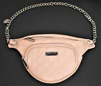 Steve Madden Fanny Pack Belt Bag Quilted Faux Leather Blush Pink Women's Chain