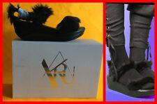 """Y.R.U. Women's """"Bedrock"""" Black - Platform Faux Fur Sandals Size 6 Authentic NIB"""
