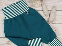 kurze Baby Pumphose Musselin grün Anker größe 86 bis 92 Handmade*Neu