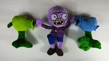 3 LOT: Plants vs. Zombies Ice Snow Peashooters and Purple Zombie Plush Toys -NEW
