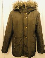 H&M Ladies Large Khaki/Brown Hooded Parka / Anorak Coat Faux Fur Hood (Euro 42)