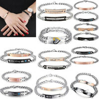 Mens Women Stainless Steel Love Couple Bracelet Bangle Wristband Cuff Chain Link