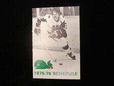 1975-76 Hartford Whalers WHA Hockey Schedule
