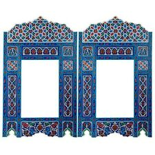 Set of 2 Painted Blue hanging mirror frame, Moroccan Vintage farmhouse decor