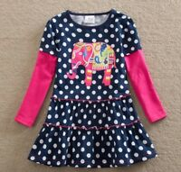 Girls Polka Dot Party Dress - Age 2 3 4 5 6 7 Yrs Pink Elephant Kids New Clothes