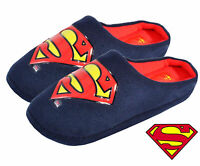 MENS NOVELTY SUPERMAN SLIPPERS SLIP-ON WARM COMFY INDOOR MULES XMAS GIFT UK 7-12