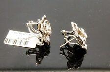 14KTWG Diamond Rose Earrings with Omega backs