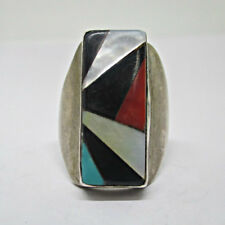 Red Coral Rectangle Ring Ring Siz Sterling Silver Mother of Pearl Turquoise Onyx