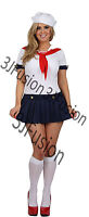 Ladies Sailor Girl Fancy Dress Costume Nautical Outfit Hen Party FREE POST (AJ)