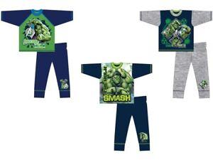 Boys Kids Incredible Hulk Pyjamas Character PJs Nightwear Cotton Long Sleeve