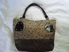 Brown G embossed purse with faux crocodile straps and trim looks expensive