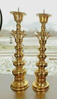 """Rare Grand Vintage Pair 18"""" Brass Foo Dogs Candlesticks Candle Holders"""
