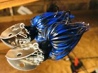 2 Custom Made Bass Bladed-Vibrating-Bait-Swim Jigs Color-(Black & Blue) 1/2 oz