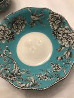 222 Fifth Adelaide Teal Serving Bowl French Toile Bird New