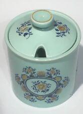 VINTAGE c.1966+ CONDIMENT JAR ADAMS POTTERY DUCK EGG BLUE & FLORAL